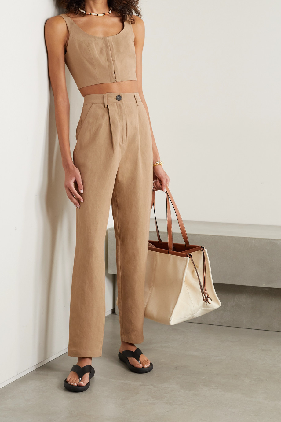 Mara Hoffman + NET SUSTAIN Dita TENCEL and linen-blend straight-leg pants