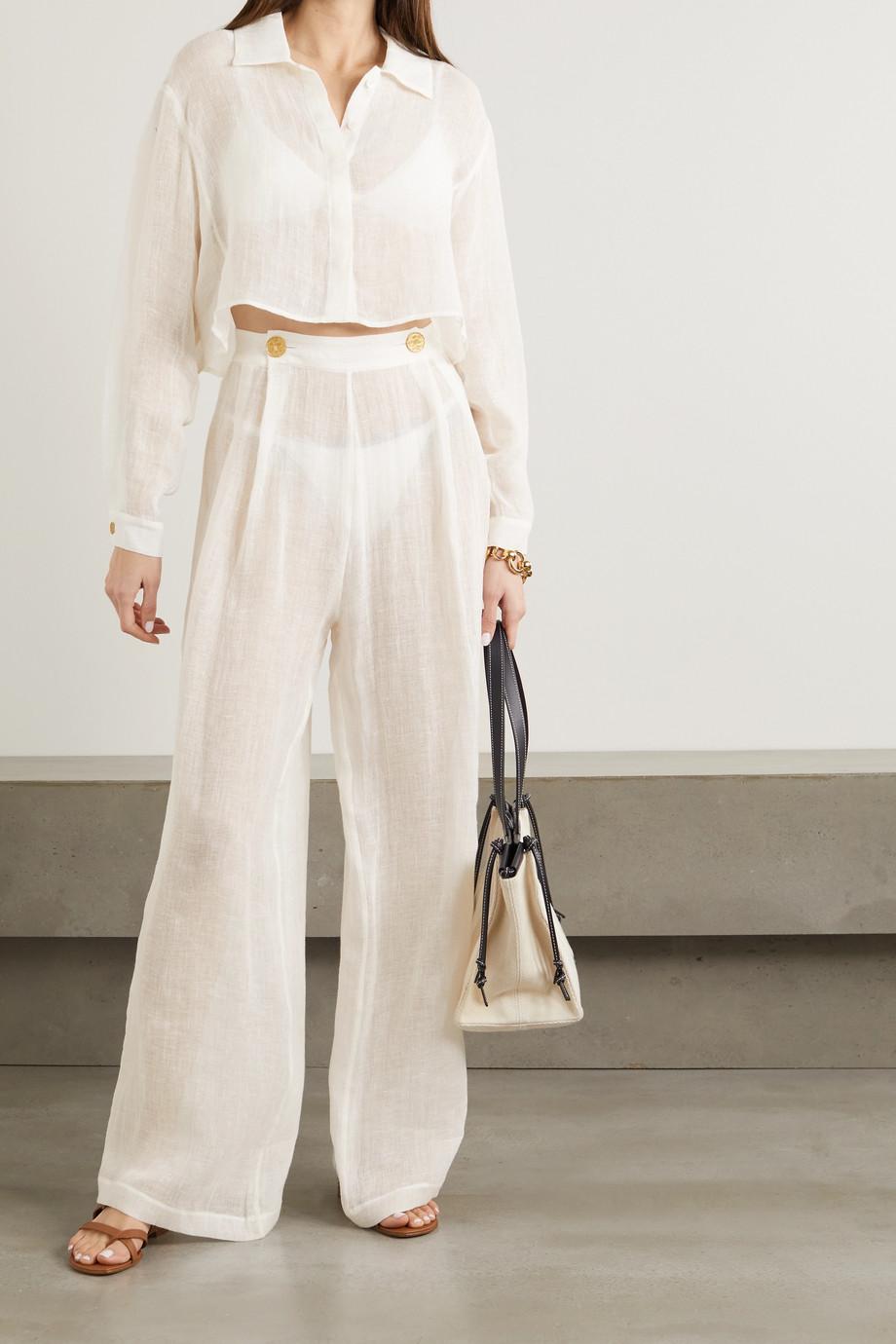 Le Kasha + NET SUSTAIN x LG Electronics pleated organic linen-gauze wide-leg pants