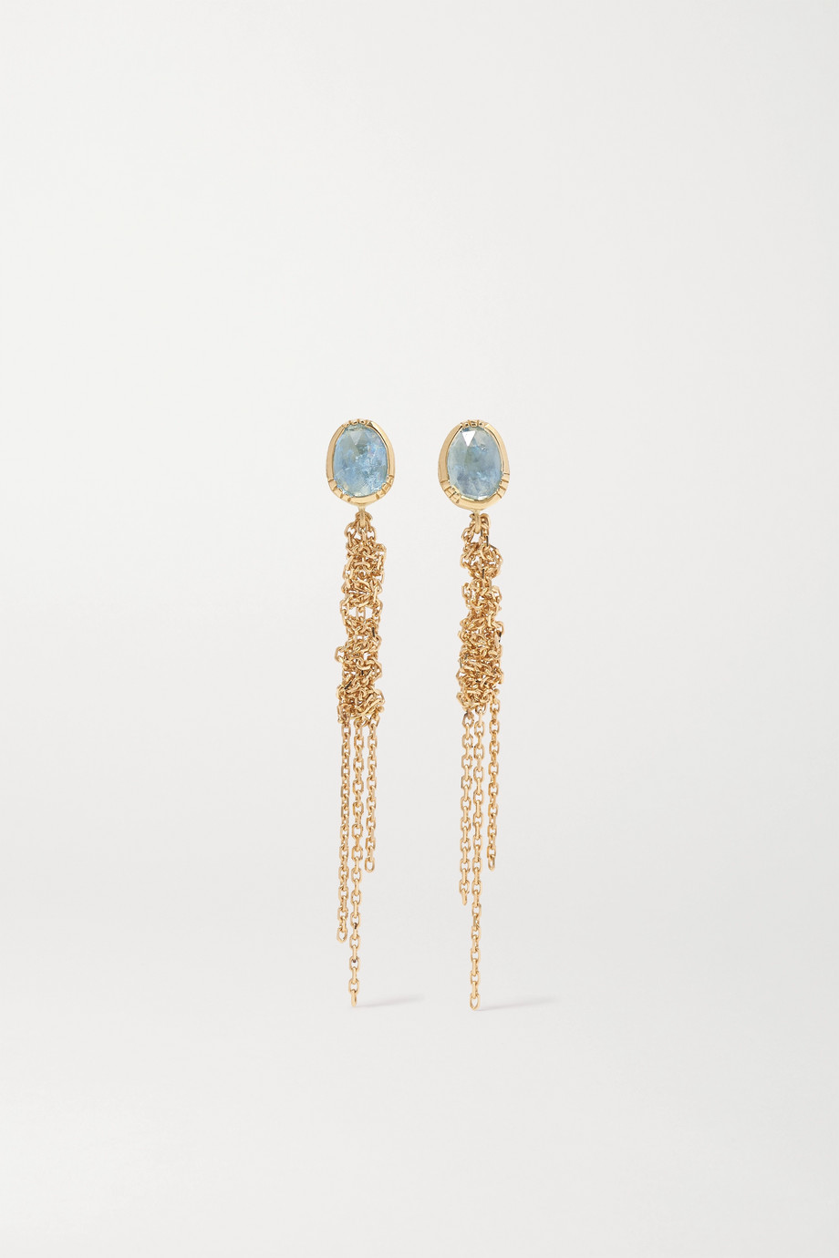 Brooke Gregson Waterfall 18-karat gold aquamarine earrings