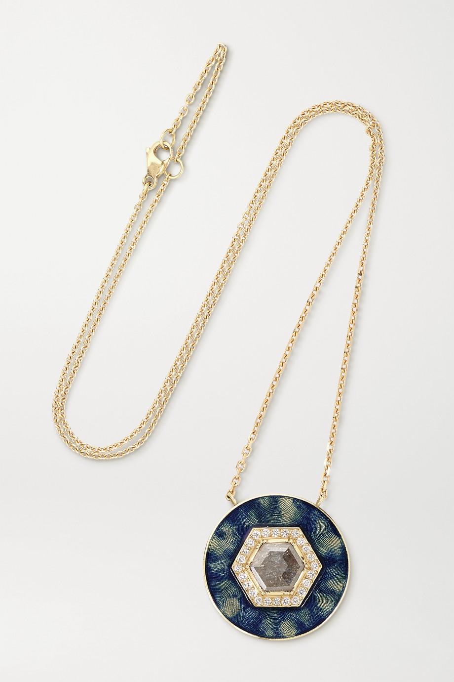 Brooke Gregson Mandala 18-karat gold, enamel and diamond necklace