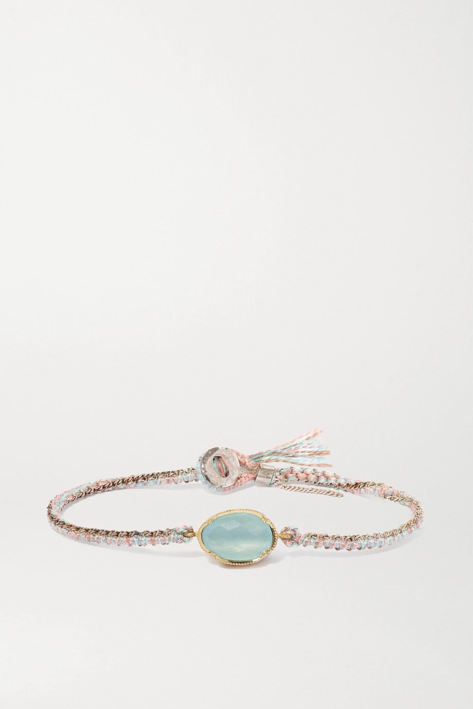 Brooke Gregson Orbit 14-karat gold, sterling silver, silk and aquamarine bracelet