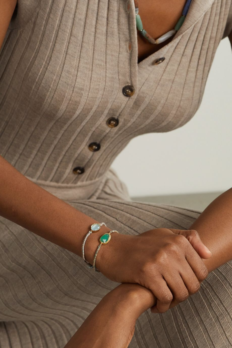 Brooke Gregson Orbit Halo 14-karat gold, silk, emerald and diamond bracelet