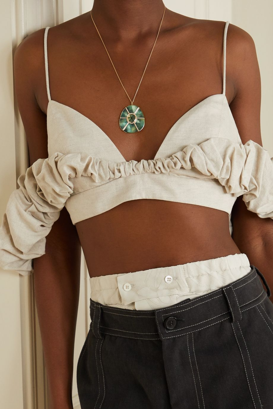 Brooke Gregson Mandala Trapiche 18-karat gold, enamel, emerald and diamond necklace