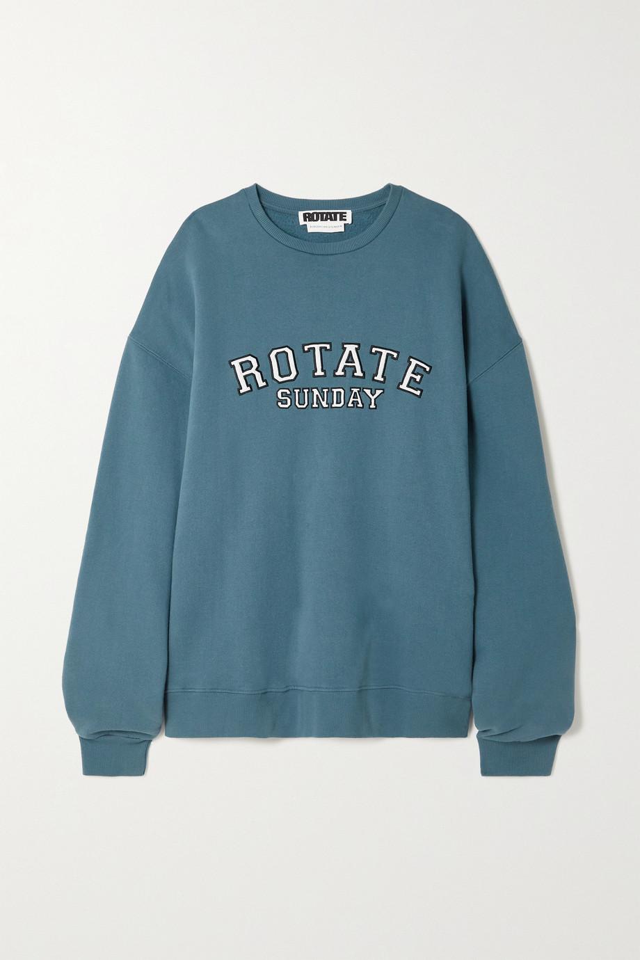 ROTATE Birger Christensen + NET SUSTAIN Sunday Iris oversized appliquéd organic cotton-jersey sweatshirt