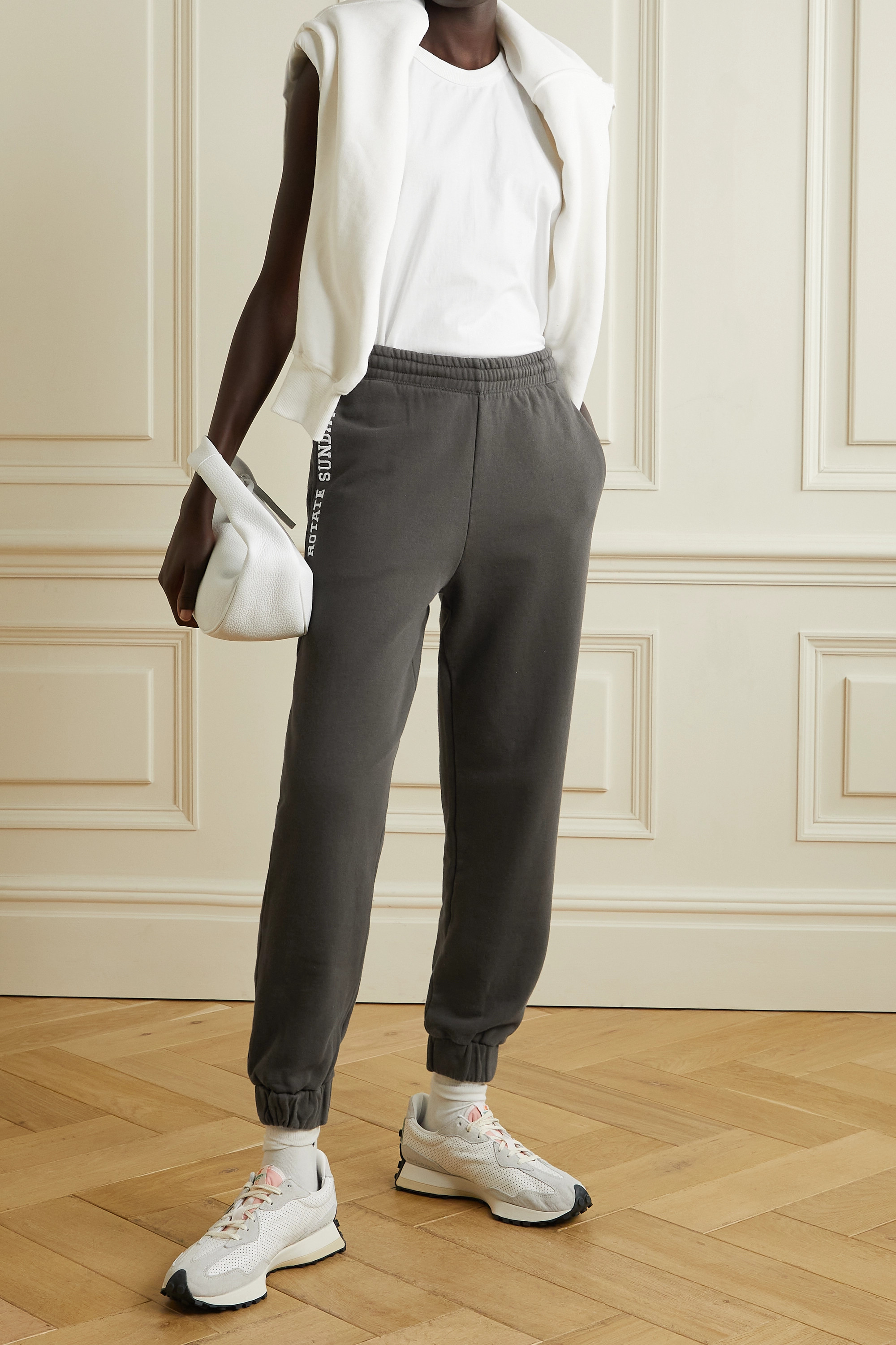 ROTATE Birger Christensen + NET SUSTAIN Mimi embroidered organic cotton-jersey track pants