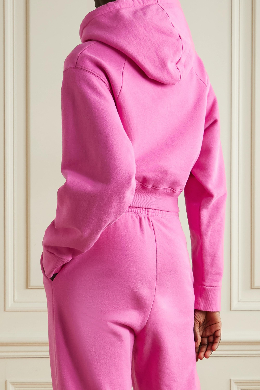 ROTATE Birger Christensen + NET SUSTAIN Viola cropped embroidered organic cotton-jersey hoodie
