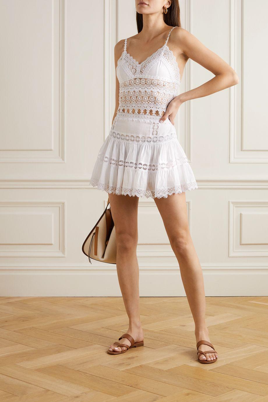 Charo Ruiz Dana cropped crocheted lace-paneled cotton-blend top