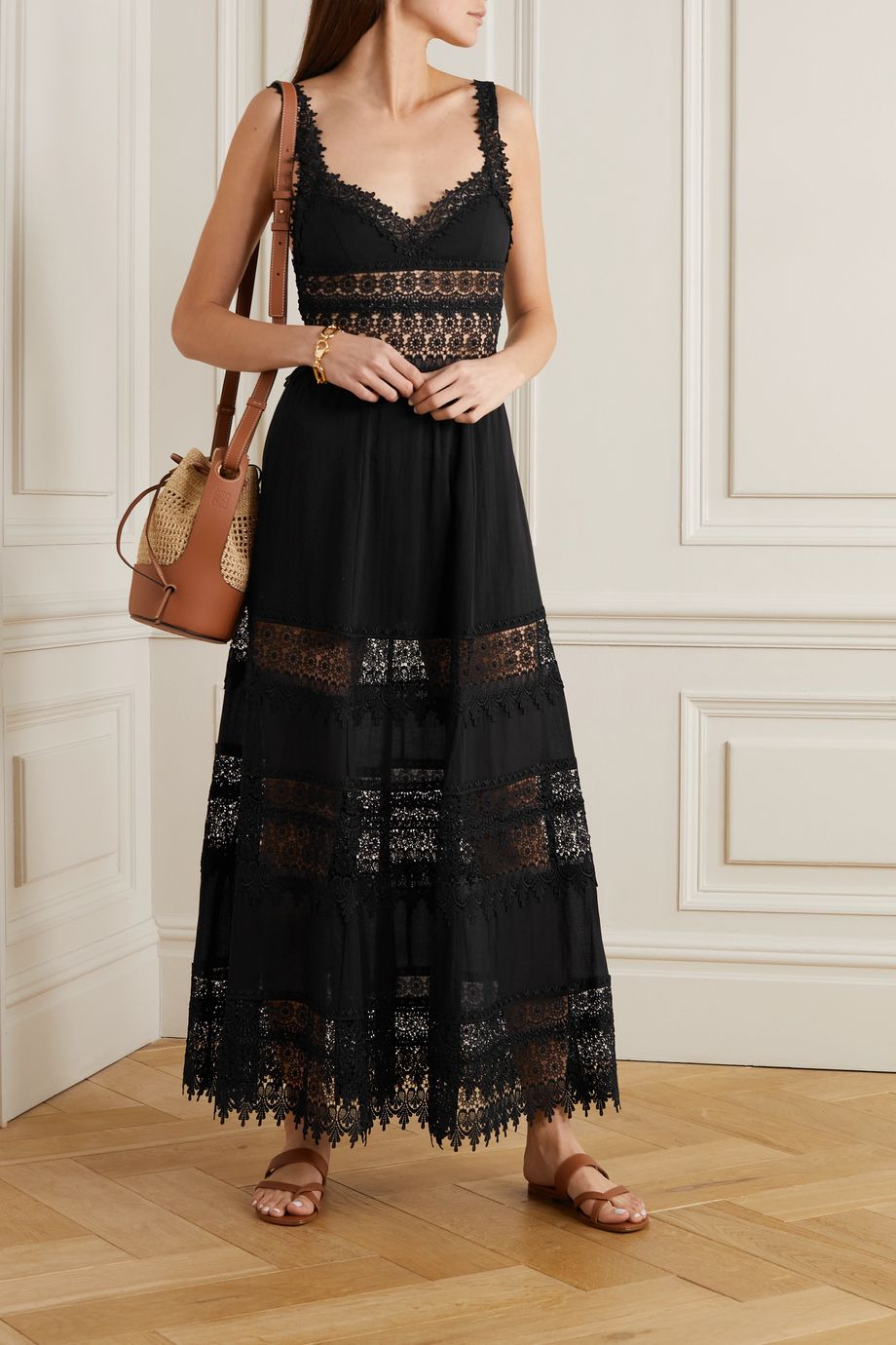 Charo Ruiz Sophia crocheted lace-paneled cotton-blend voile maxi dress