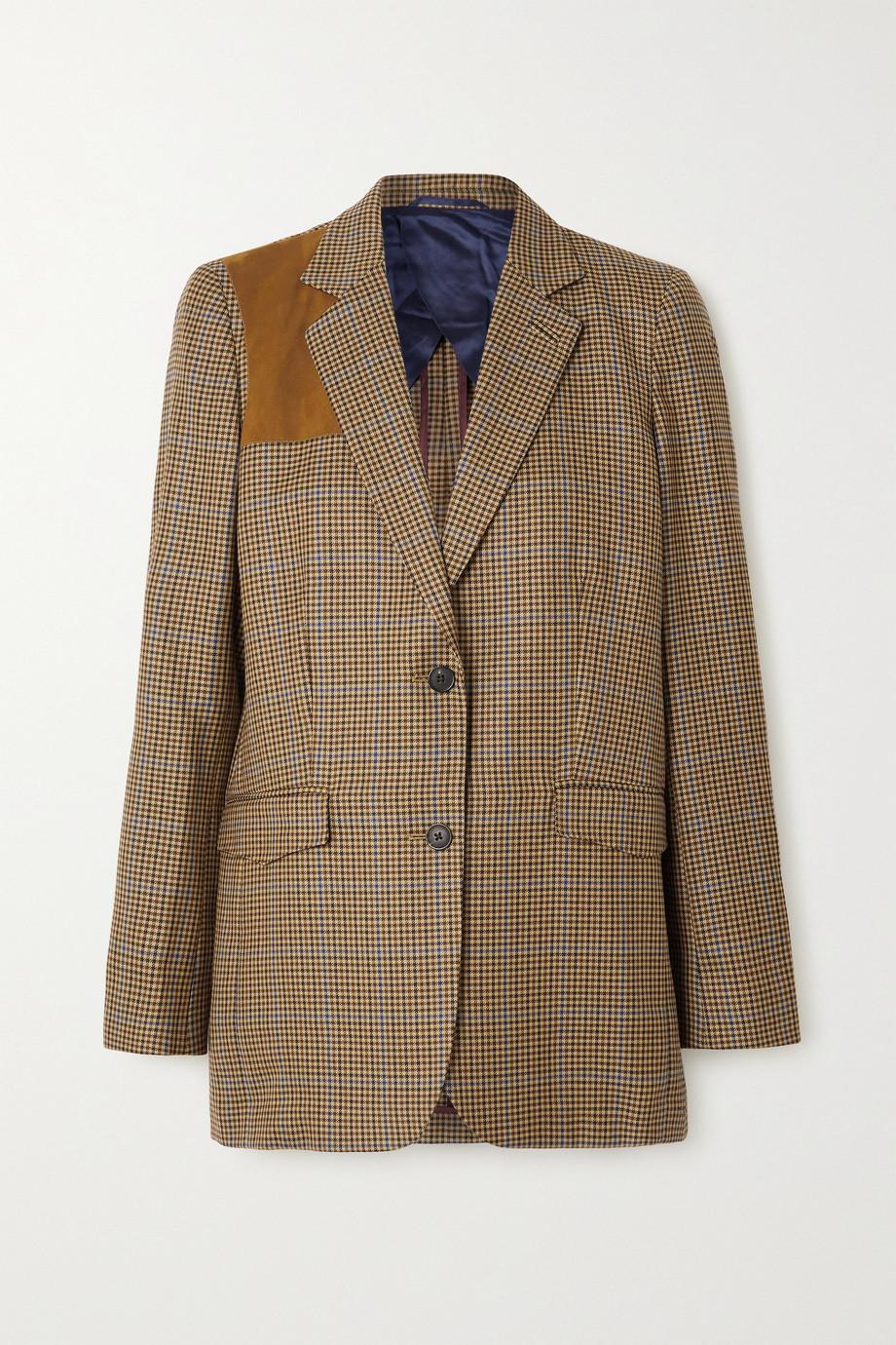 Purdey Faux suede-paneled checked wool-tweed blazer