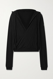Alo Yoga Hooded wrap-effect stretch-knit top