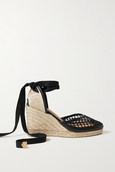 Castaã±er CAROLA 80 LEATHER-TRIMMED MESH WEDGE ESPADRILLES