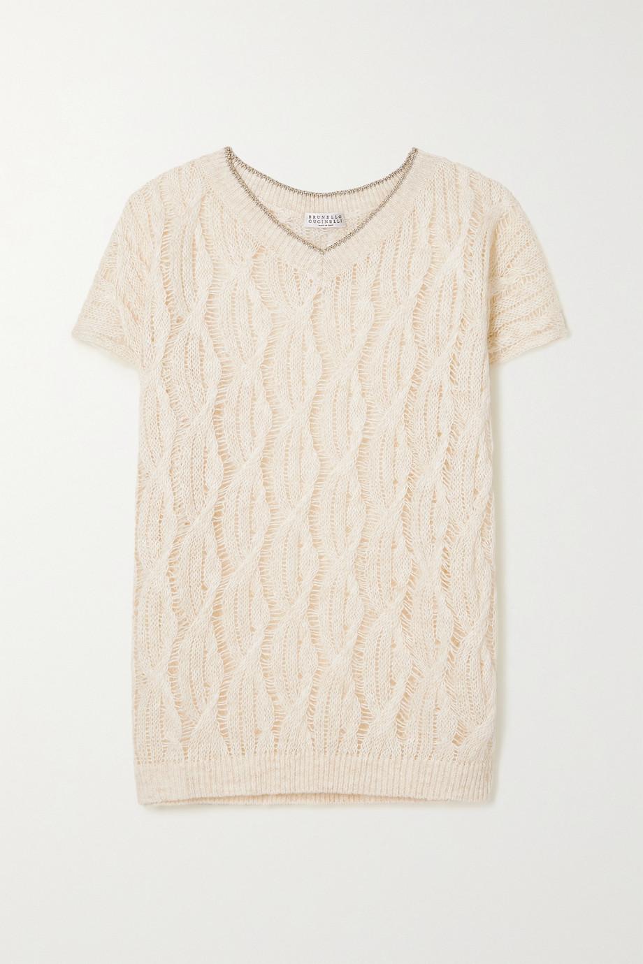 Brunello Cucinelli Metallic-trimmed cable-knit linen-blend sweater