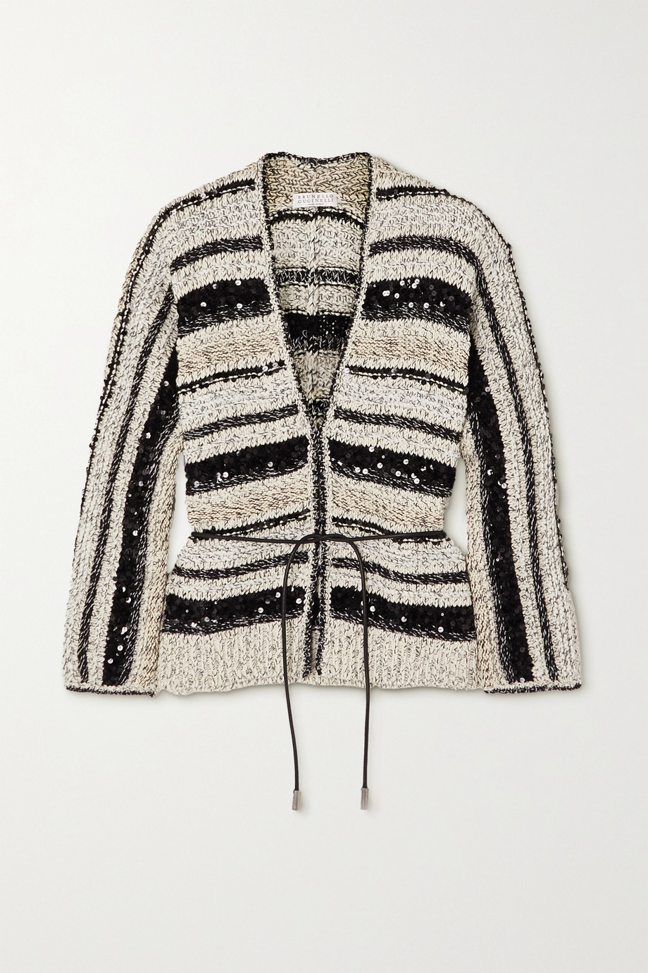 Brunello Cucinelli Belted sequin-embellished striped cotton cardigan