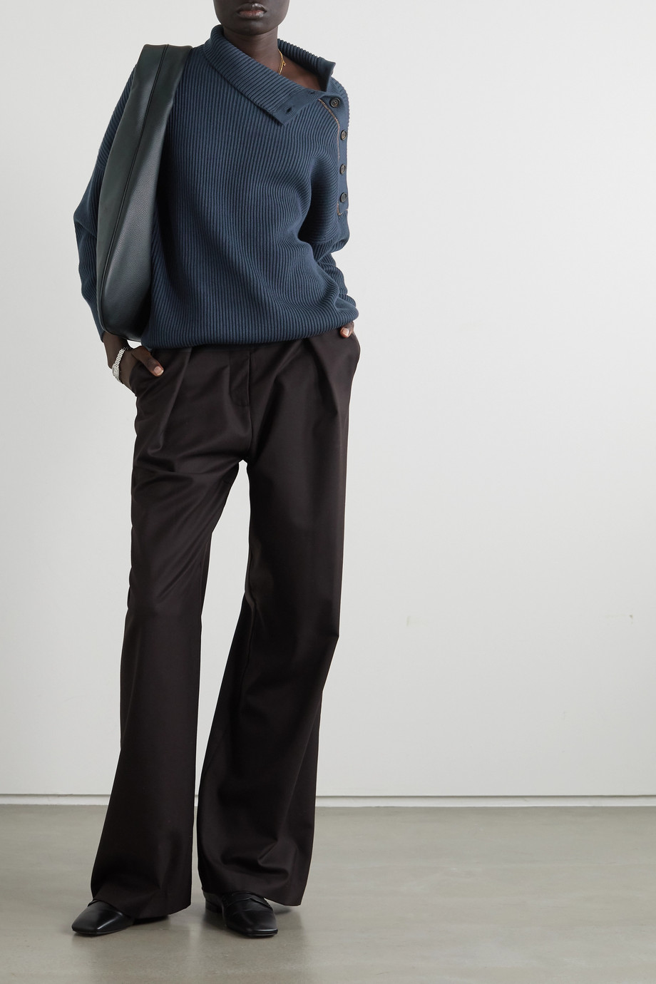 Brunello Cucinelli Button and bead-embellished ribbed cotton turtleneck sweater