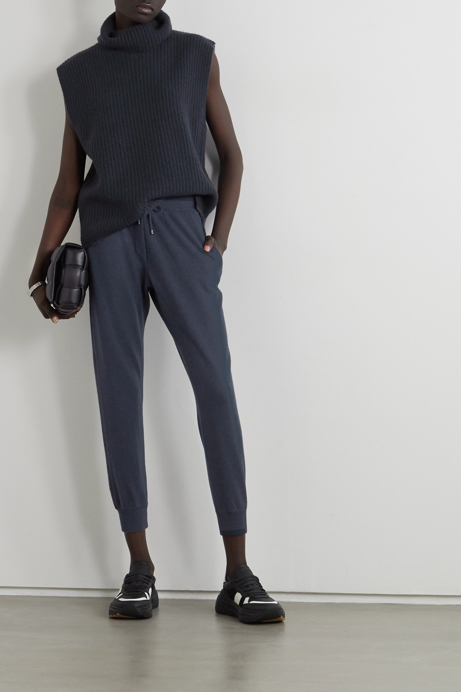 Brunello Cucinelli Cropped bead-embellished wool, cashmere and silk-blend track pants