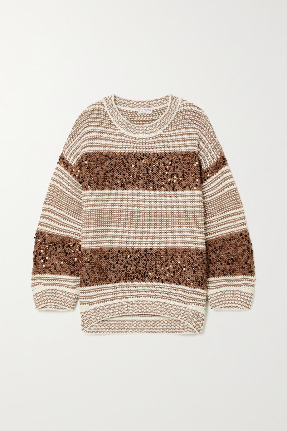 Brunello Cucinelli Gestreifter Pullover aus einer Mischung aus Leinen, Baumwolle und Seide mit Pailletten