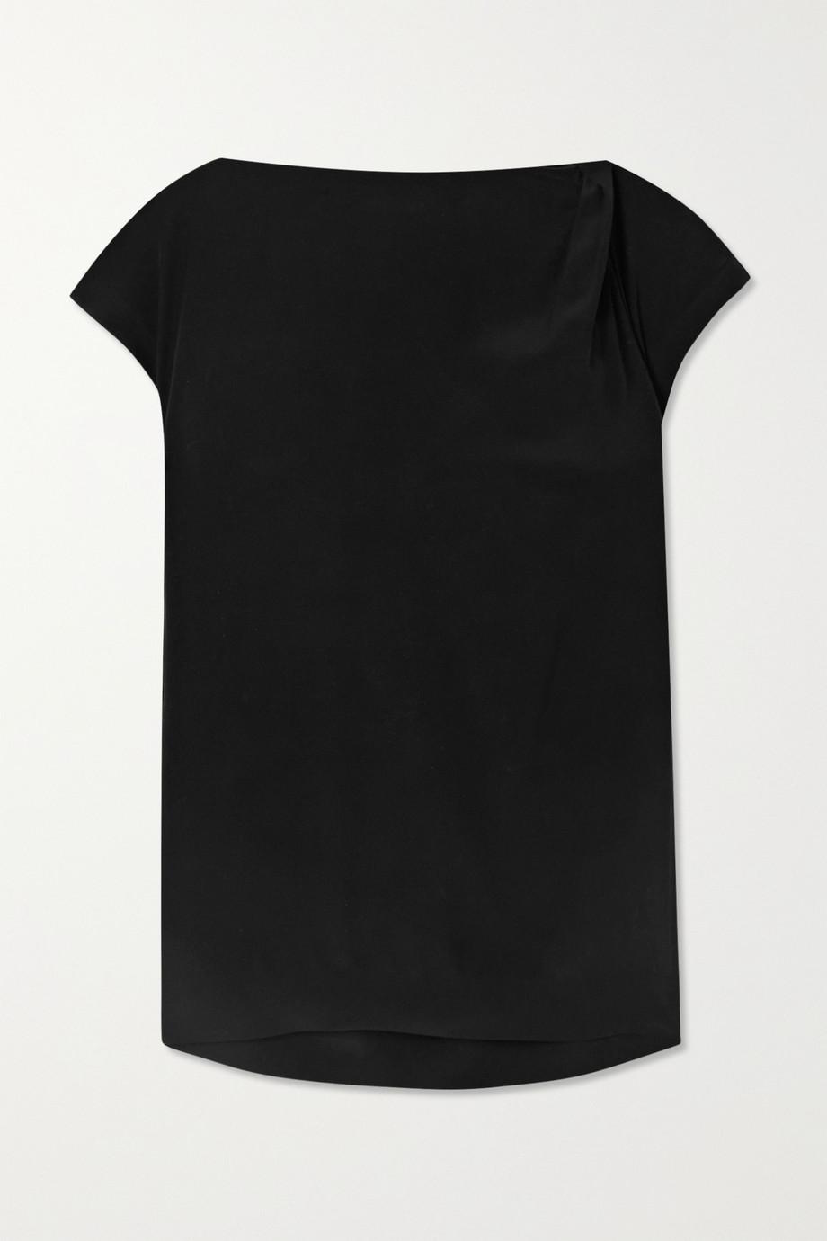 Brunello Cucinelli Bead-embellished draped silk-crepe top