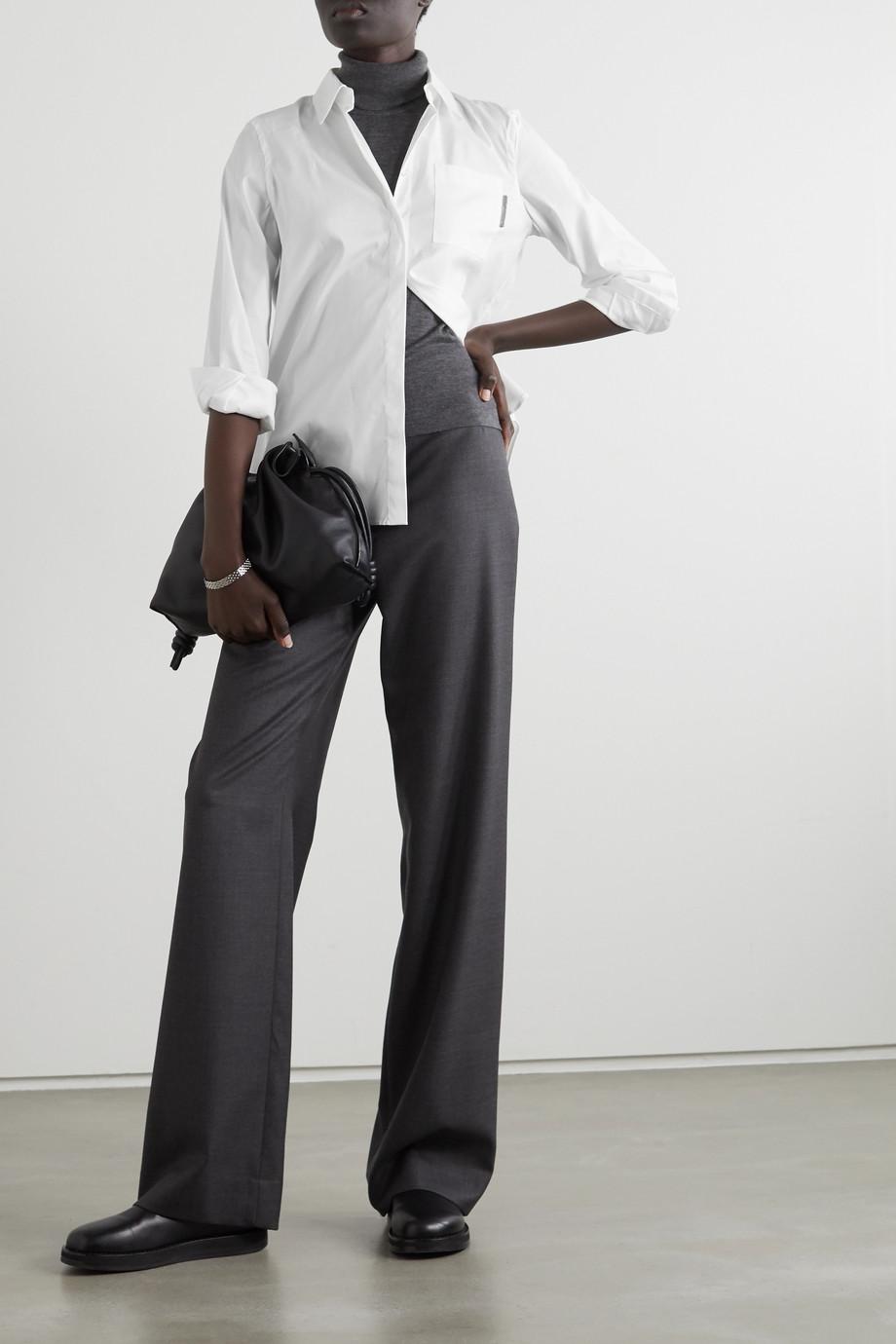 Brunello Cucinelli 珠饰弹力棉质混纺府绸衬衫