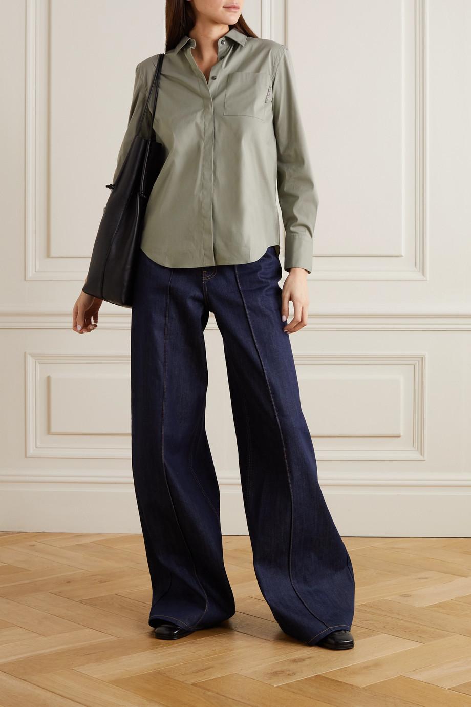 Brunello Cucinelli Bead-embellished stretch cotton-blend poplin shirt