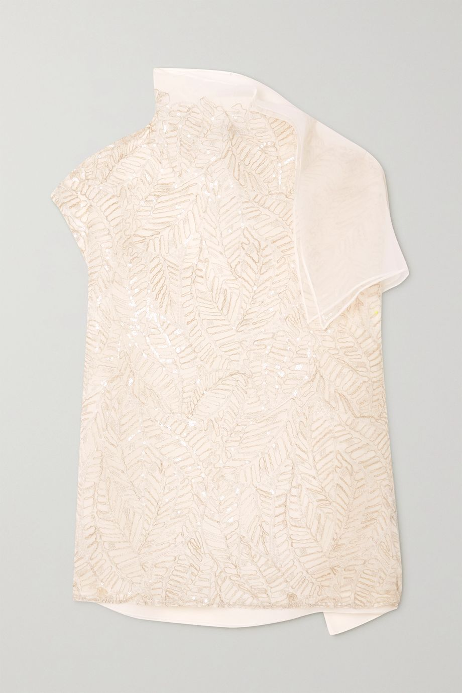 Brunello Cucinelli Sequin-embellished embroidered silk-chiffon blouse