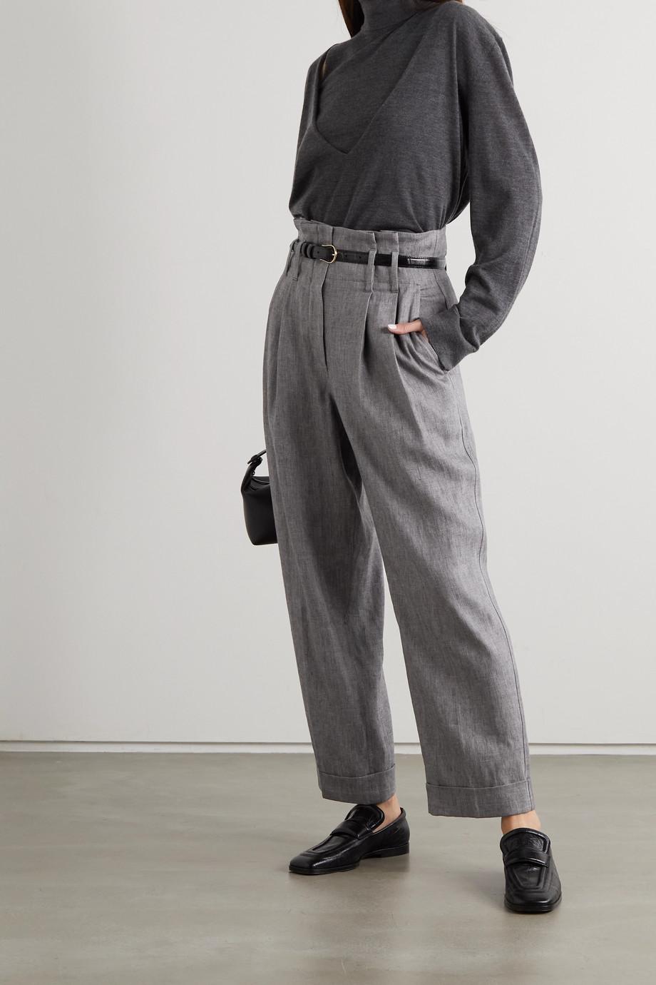 Brunello Cucinelli Pantalon droit raccourci en lin mélangé à chevrons et à plis