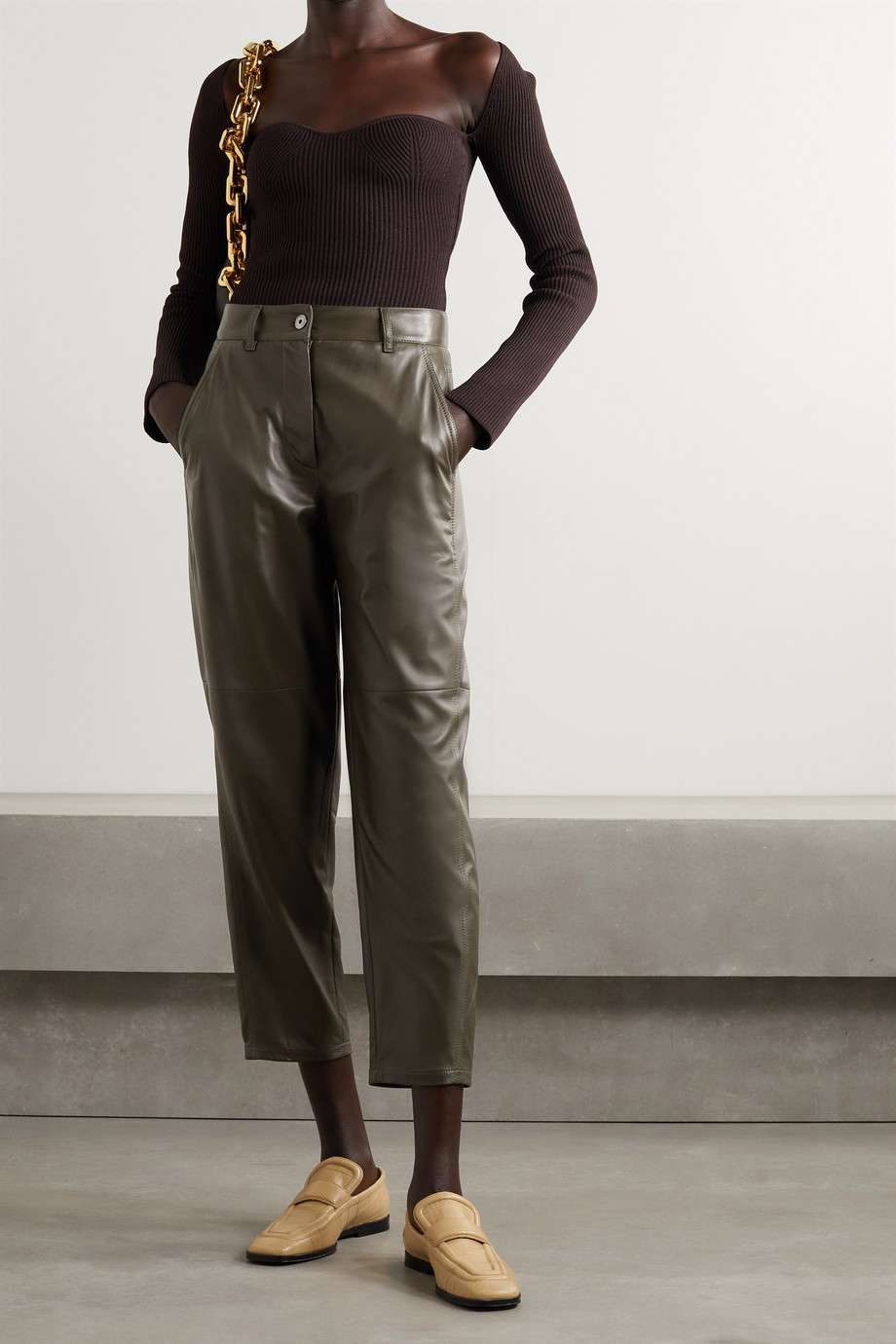 Brunello Cucinelli Leather tapered pants