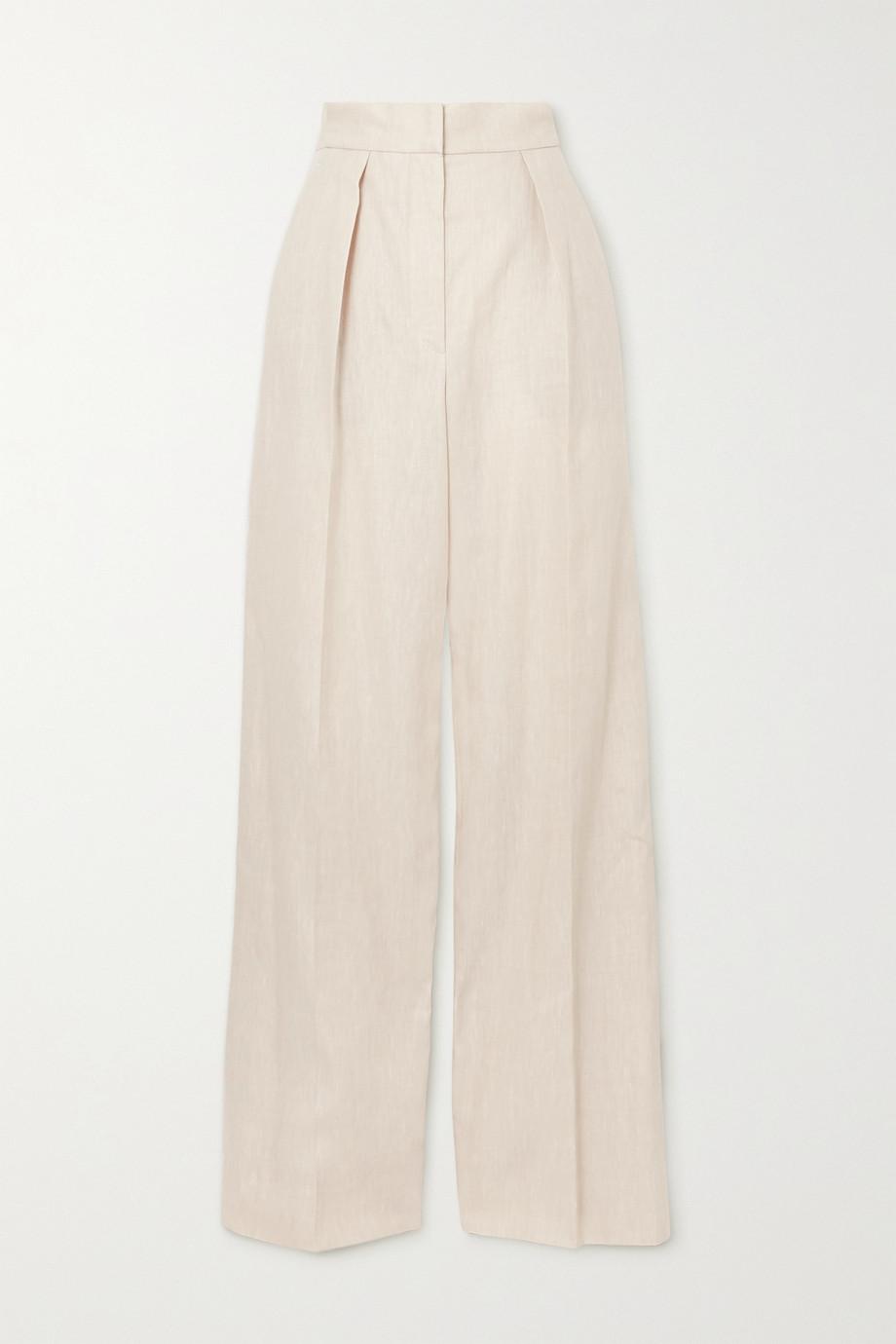 Brunello Cucinelli Pleated linen-blend twill wide-leg pants