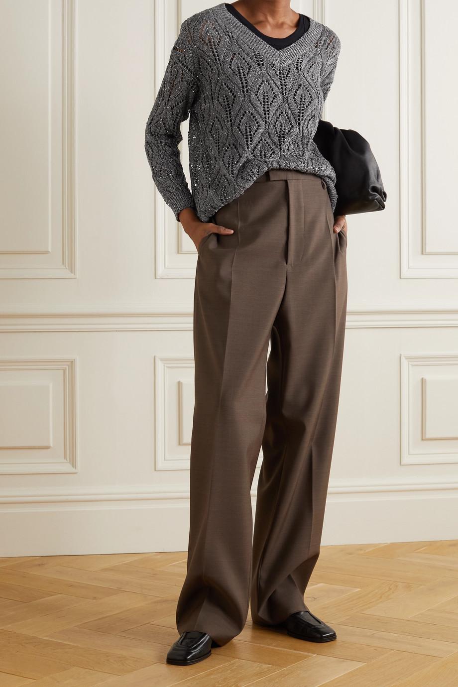 Brunello Cucinelli Sequin-embellished pointelle-knit linen-blend sweater