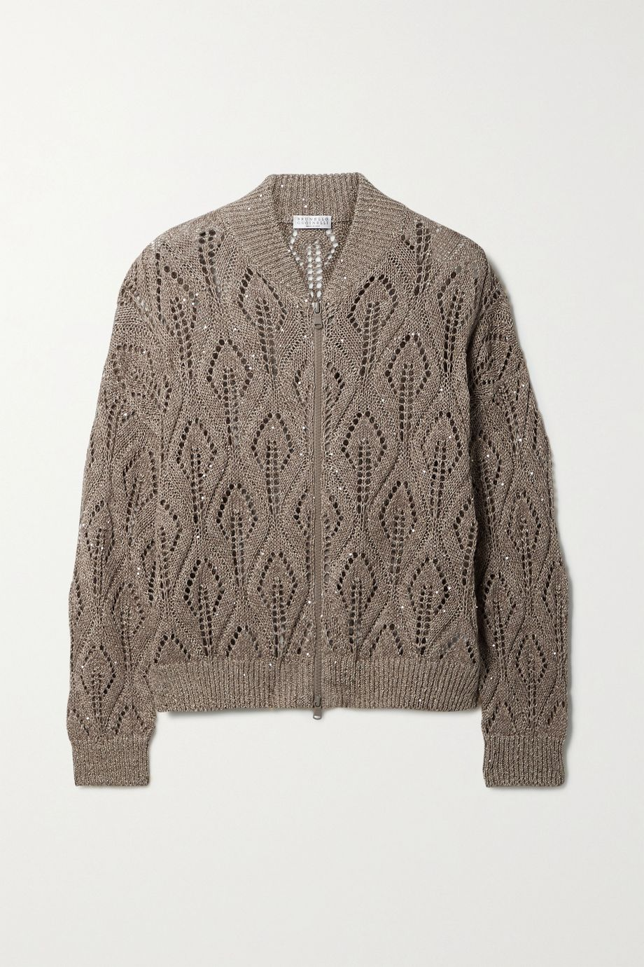 Brunello Cucinelli Sequin-embellished open-knit linen-blend cardigan