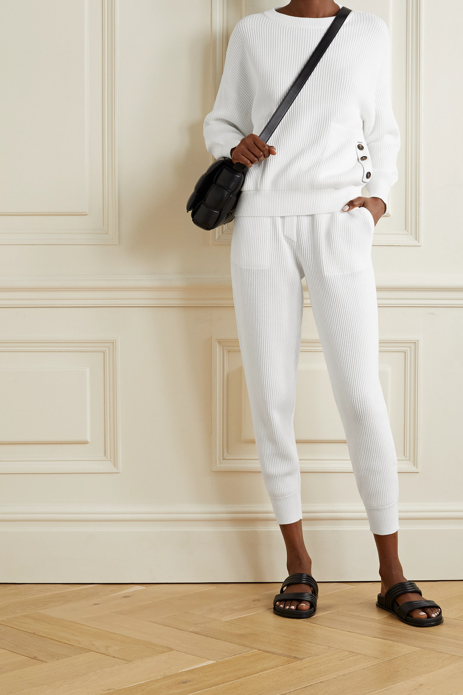 Brunello Cucinelli Bead-embellished ribbed cotton sweater
