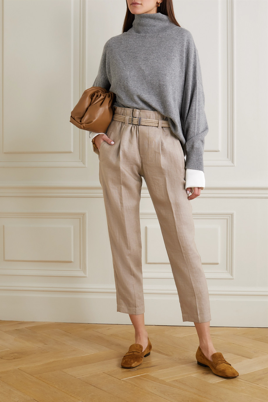 Brunello Cucinelli Belted cropped linen-blend straight-leg pants