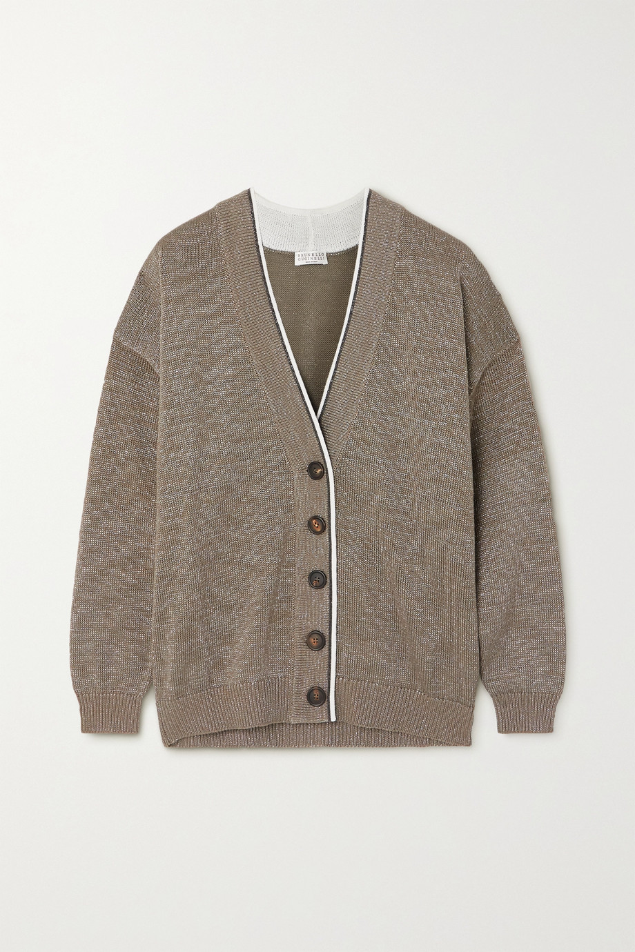 Brunello Cucinelli Bead-embellished metallic cotton-blend cardigan