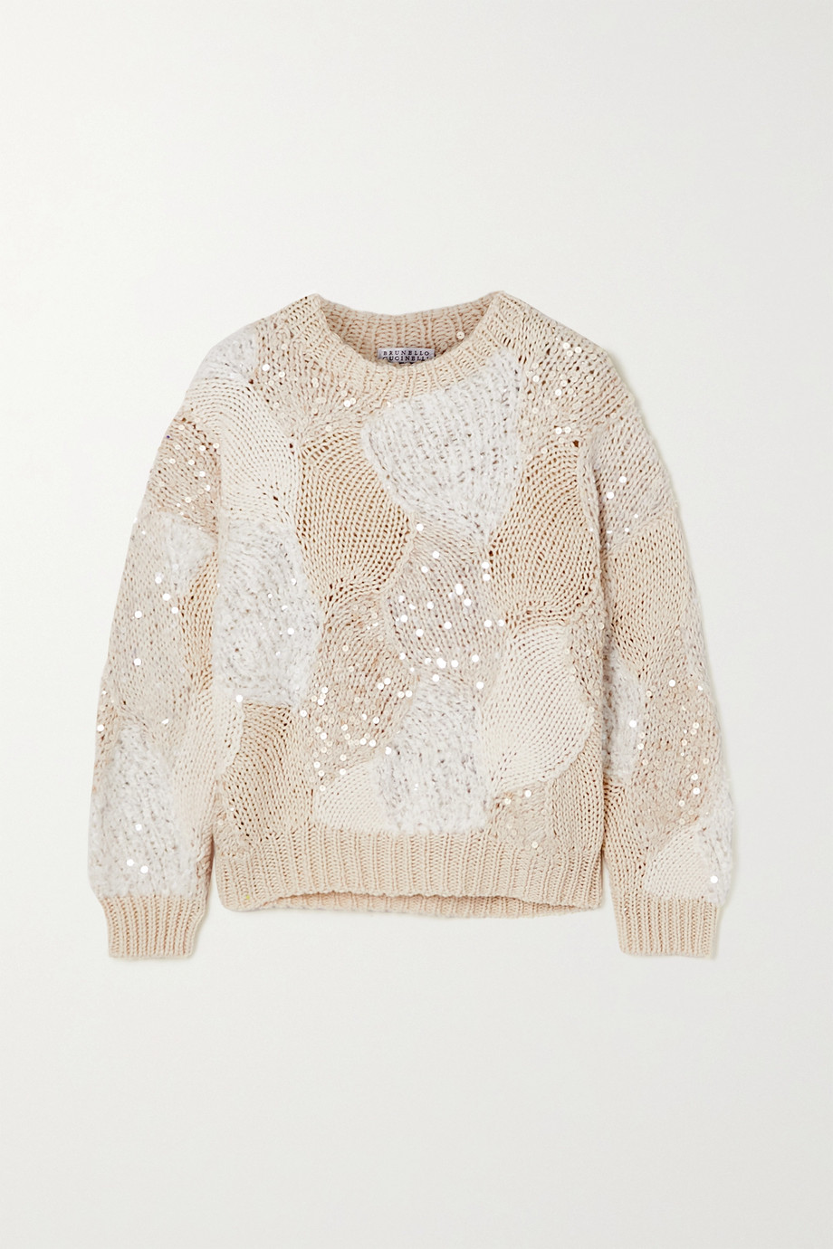 Brunello Cucinelli Sequin-embellished patchwork cotton sweater