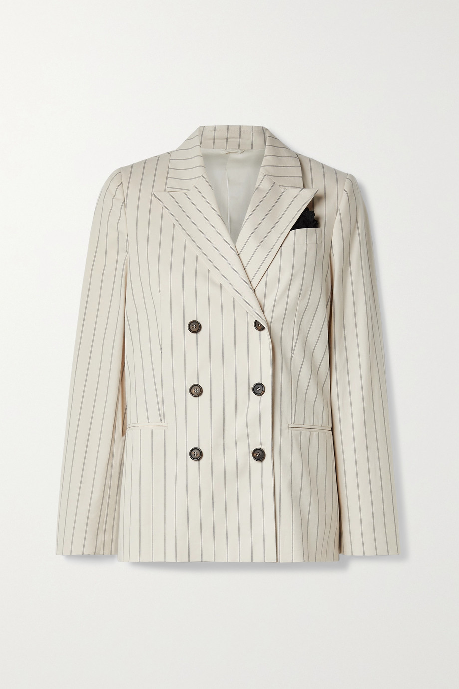 Brunello Cucinelli Regimental double-breasted pinstriped cotton-blend blazer