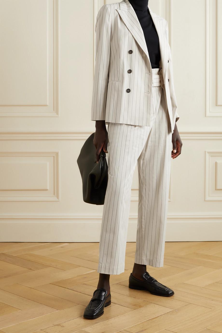 Brunello Cucinelli Regimental double-breasted pinstriped cotton-blend blazer