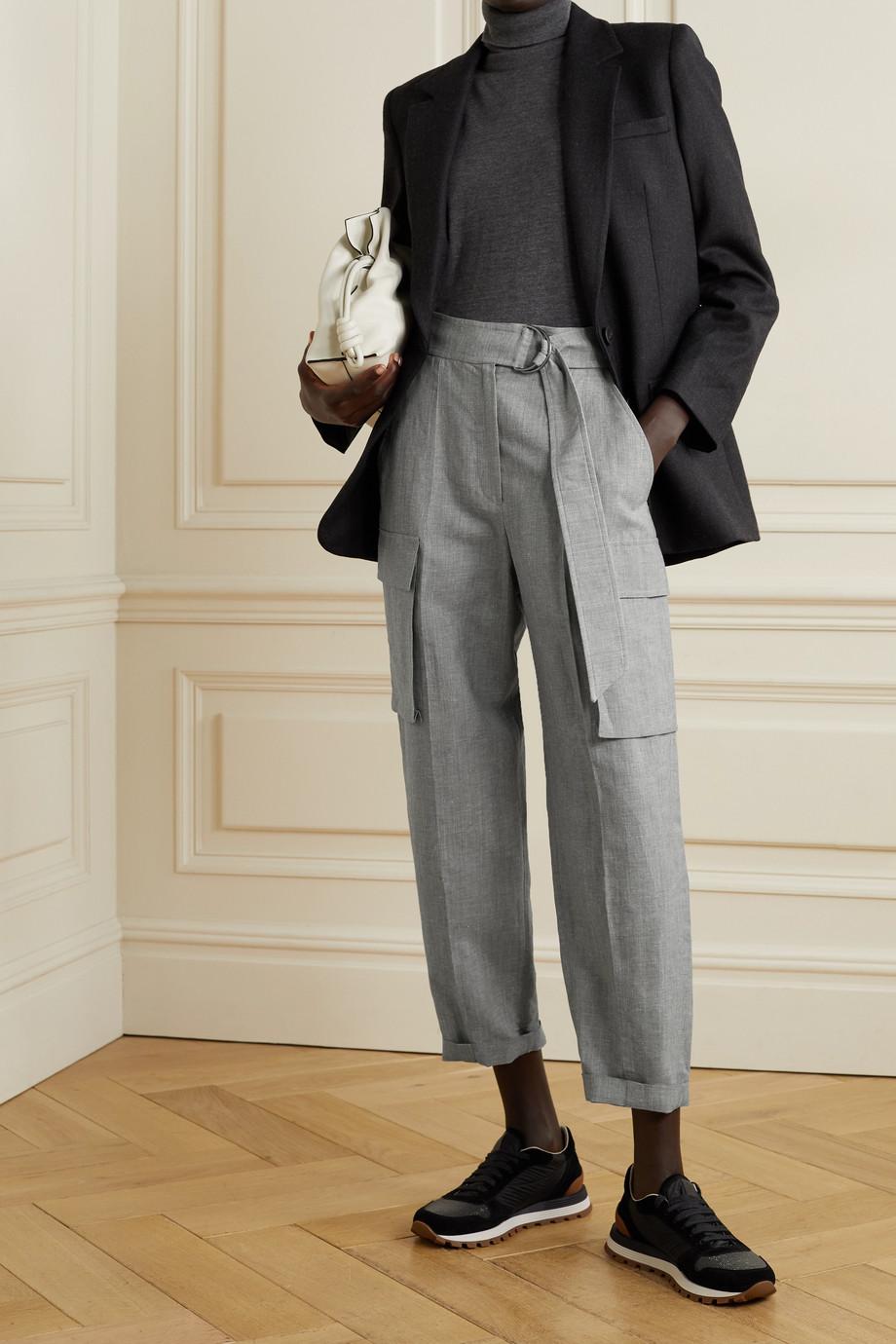 Brunello Cucinelli Pantalon droit raccourci en laine et lin mélangés à ceinture