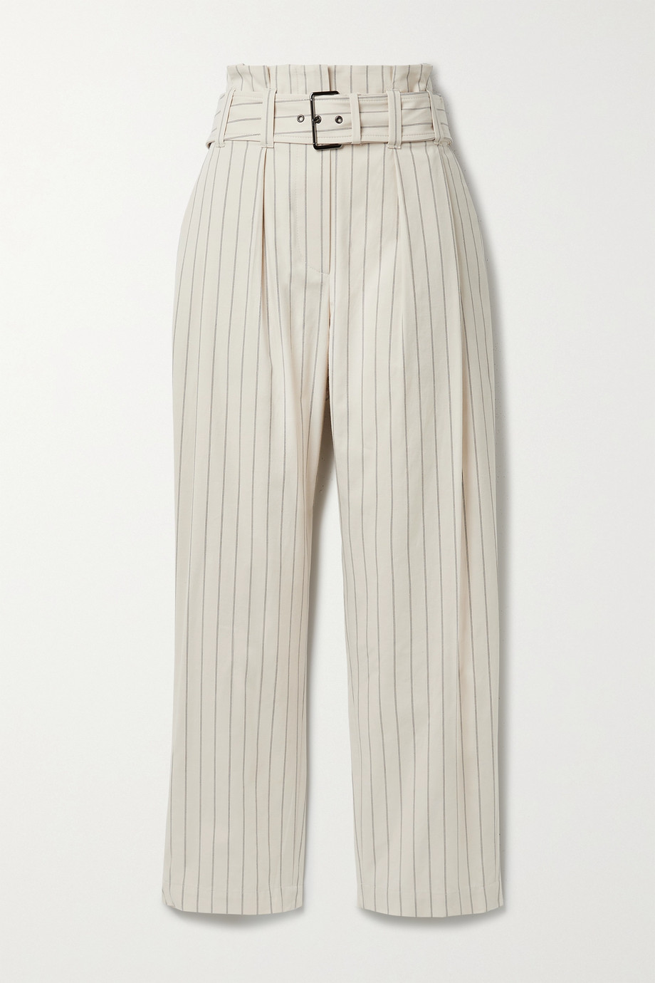 Brunello Cucinelli Regimental belted pleated pinstriped cotton-blend straight-leg pants