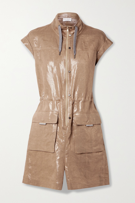 Brunello Cucinelli Metallic Linen-twill Playsuit In Brown