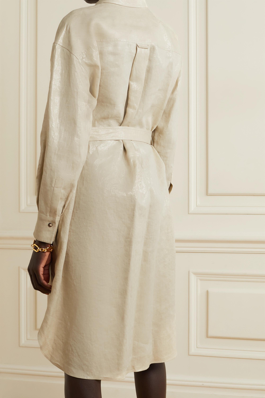 Brunello Cucinelli Belted metallic linen shirt dress