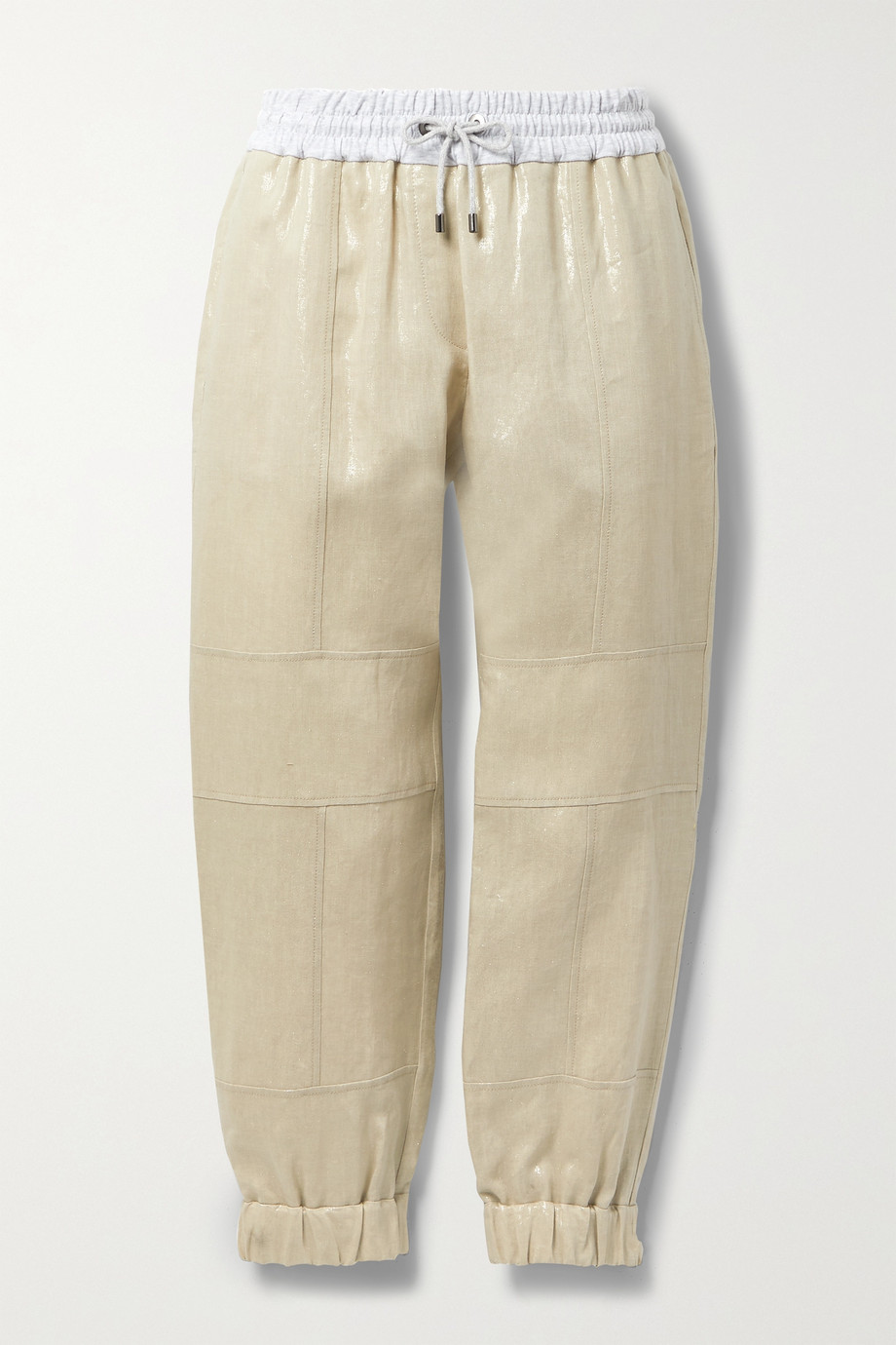 Brunello Cucinelli Cotton-blend jersey-trimmed metallic linen track pants