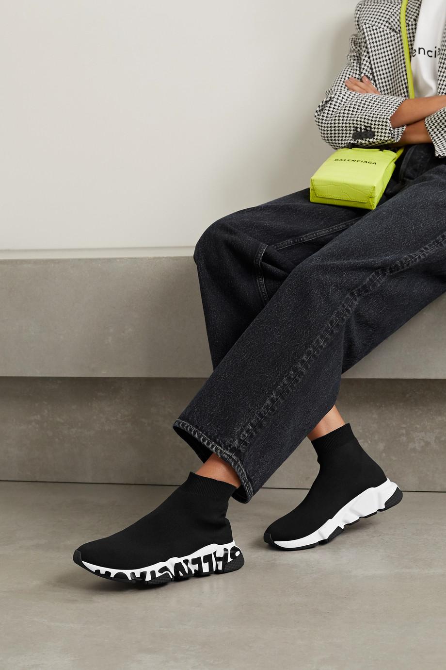 Balenciaga Speed High-Top-Sneakers aus Stretch-Strick mit Logoprint