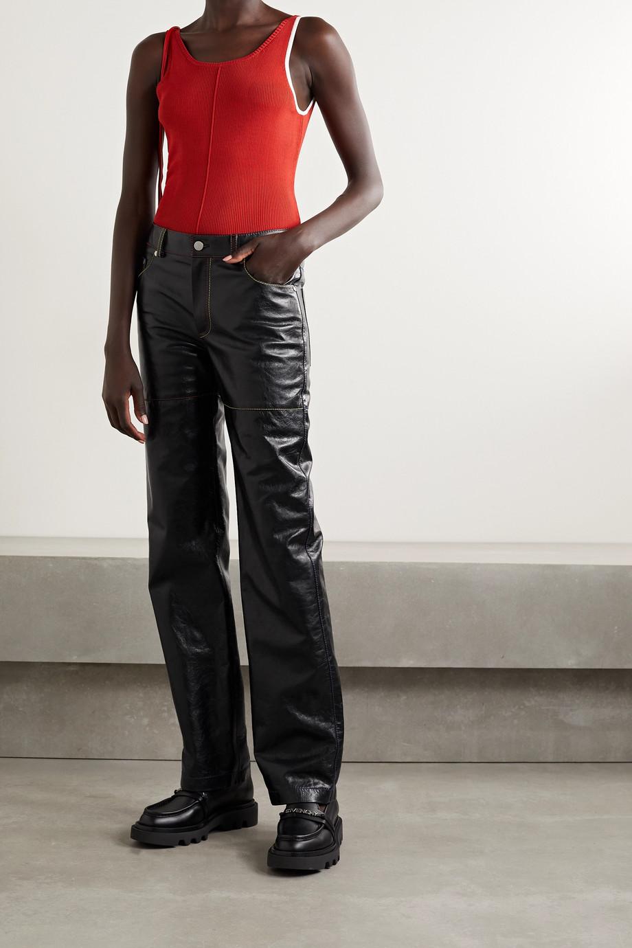 Peter Do Crinkled-leather straight-leg pants