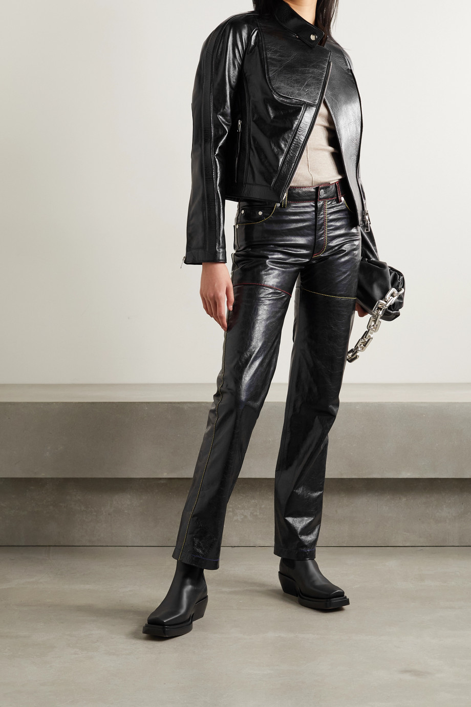 Peter Do Crinkled-leather biker jacket
