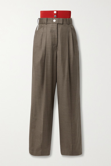Peter Do RIBBED KNIT-TRIMMED WOOL STRAIGHT-LEG PANTS