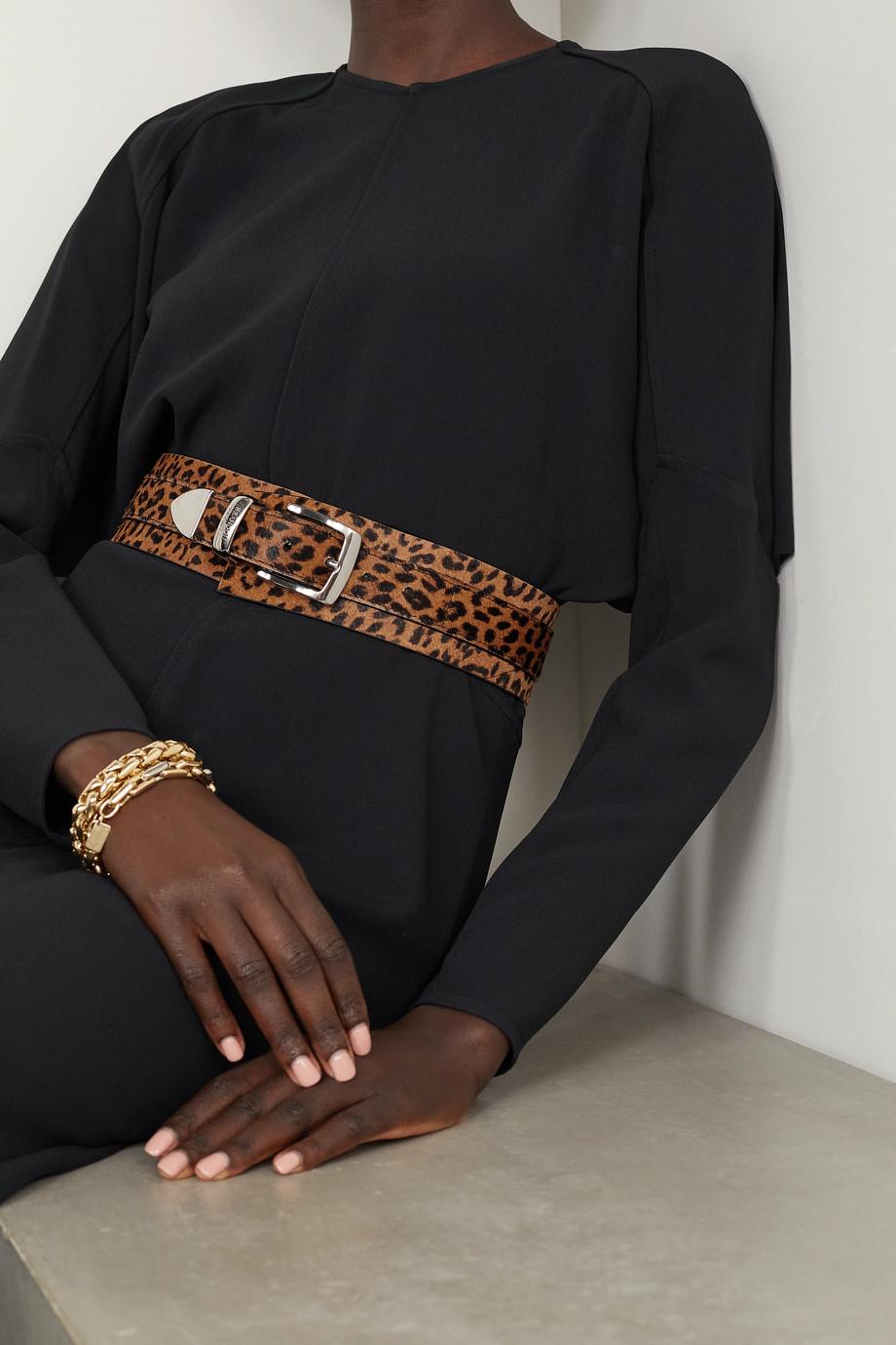 Brandon Maxwell Cheetah-print calf hair waist belt