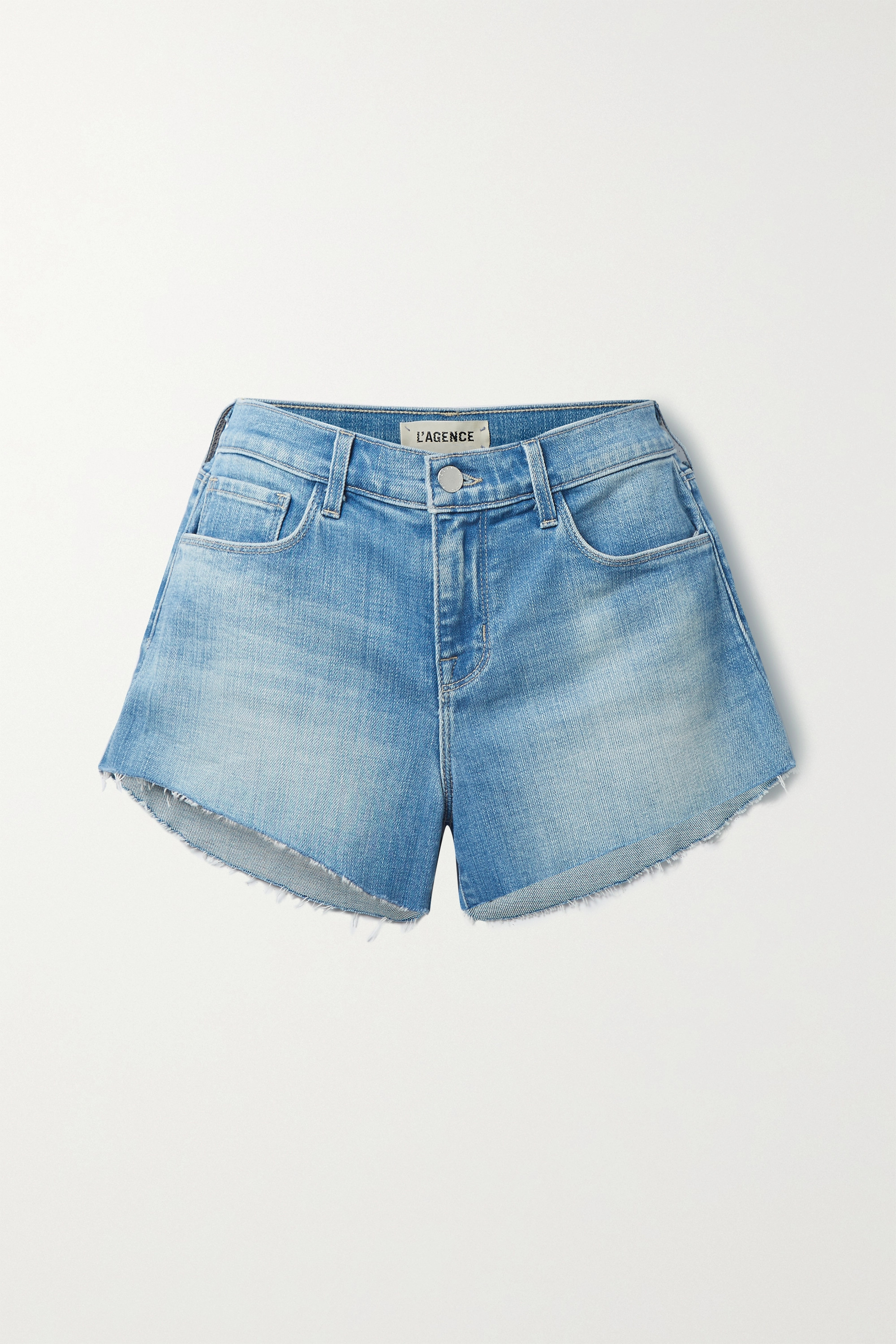 L'Agence - Audrey frayed denim shorts