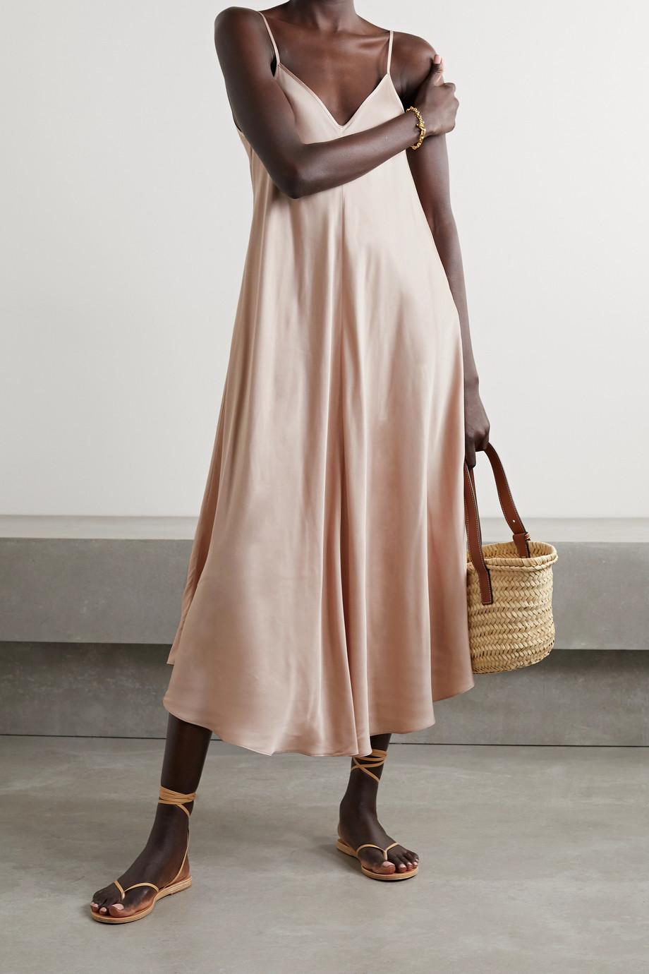 L'Agence Lorraine asymmetric satin midi dress
