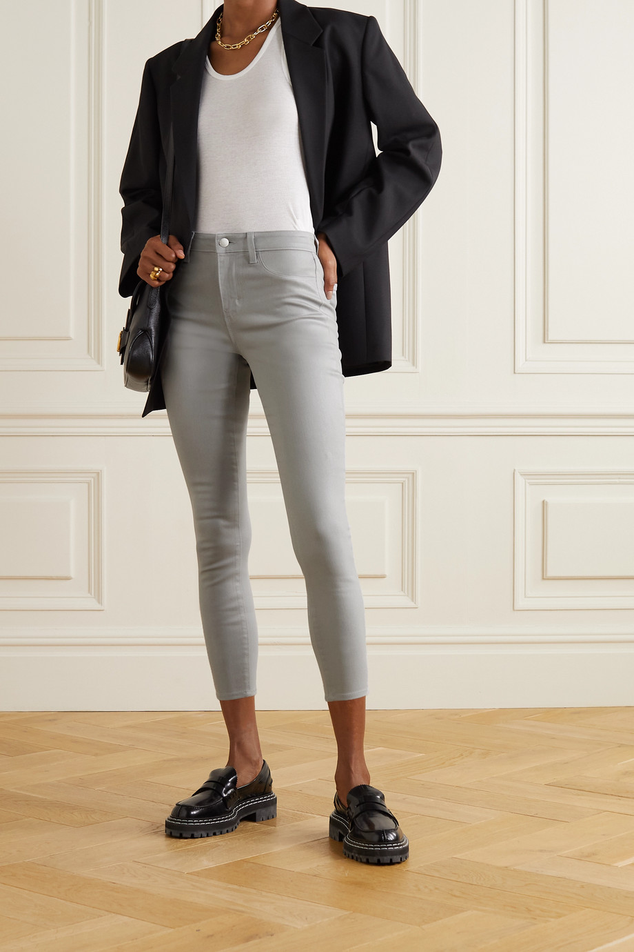 L'Agence Margot cropped coated high-rise skinny jeans