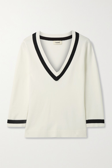 L Agence AXELLE STRIPED KNITTED SWEATER
