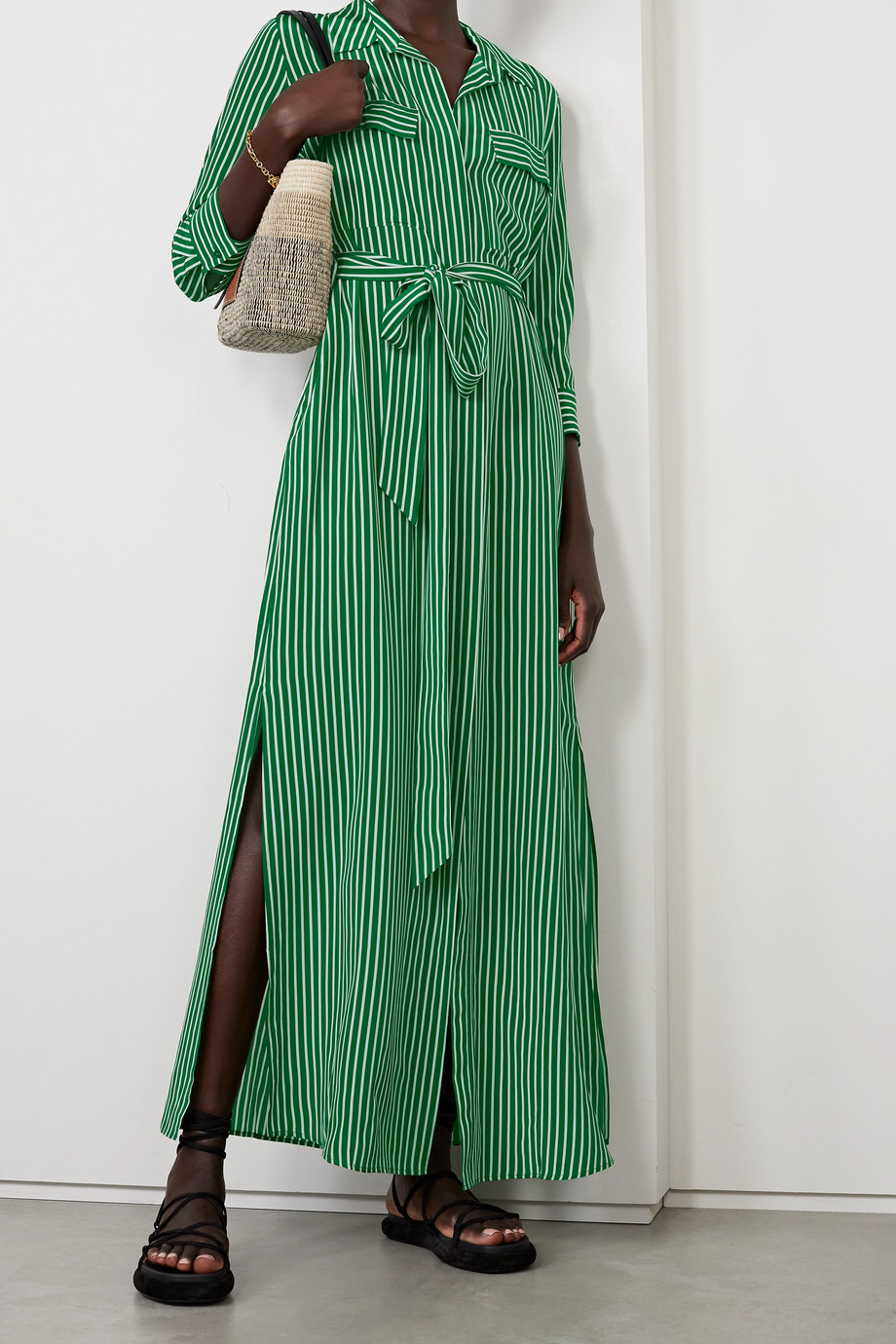 L'Agence Cameron belted striped silk crepe de chine maxi shirt dress